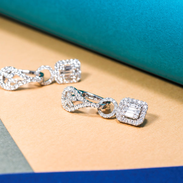 18K Whtie Gold Diamond Drop Earrings | Jress.com