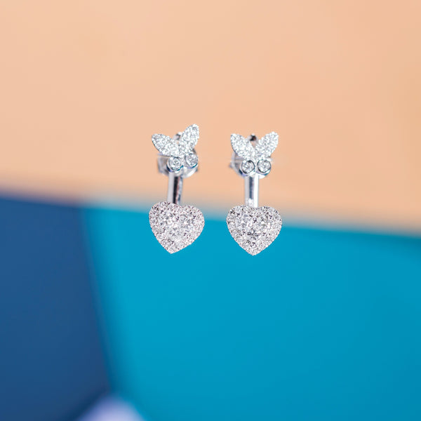 White Gold Diamond Love Butterfly Earrings | Jress.com