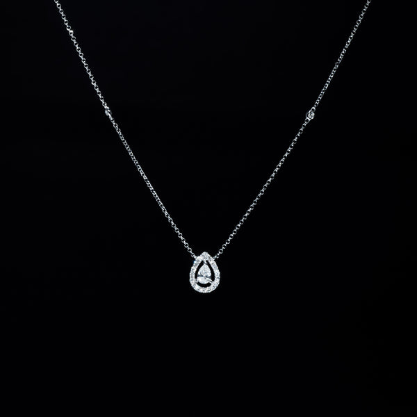 Pear Shape Diamond Necklace - 18K White Gold | Jress.com