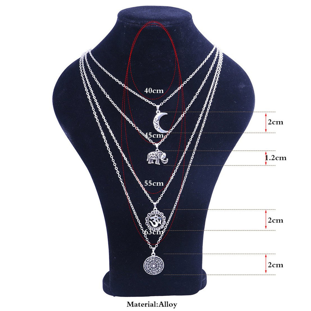 Multi-layered Elephant Moon Pendant Chain Necklace