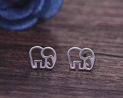 Image of Tiny Elephant Stud Earrings Silver