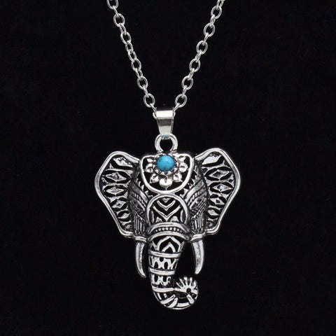 Image of Boho Antique Elephant Head Pendant Necklace