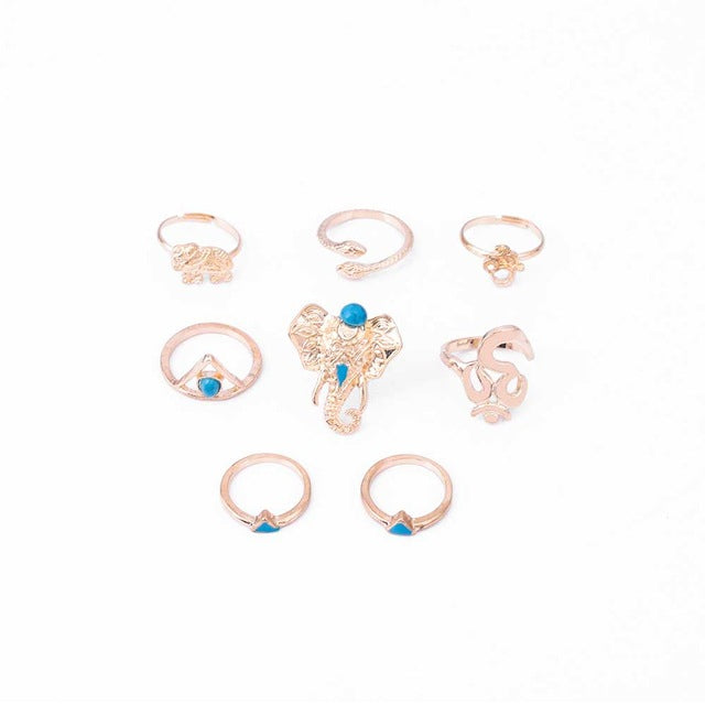 Retro Boho Elephant Ring Set of 8 - conversation starters - gold hand jewelry