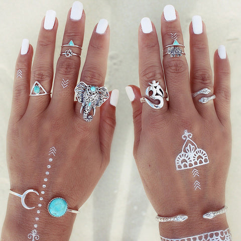 Image of Retro Boho Elephant Ring Set of 8 - conversation starters - hand jewelry