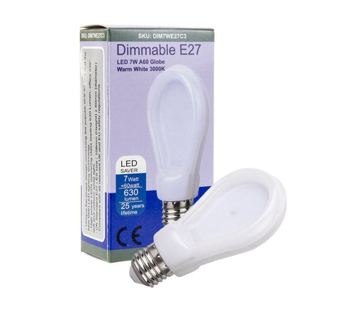 Allcam Dimmable 7W Edison Screw ES/E27 Warm White LED Bulb 630lm ~60W Incandescent Globe Lights (pack size options)