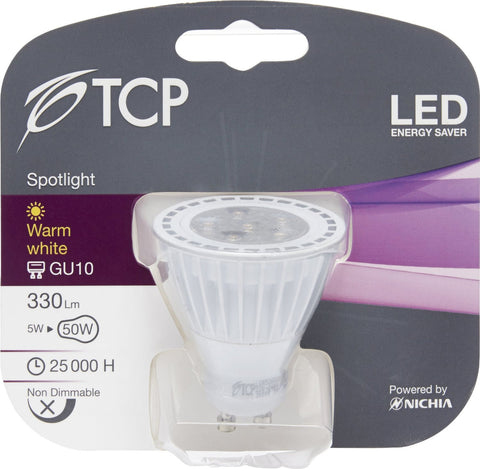 TCP 5W GU10 LED Bulb Warm White 330lm ~40W Halogen (with pack size options)