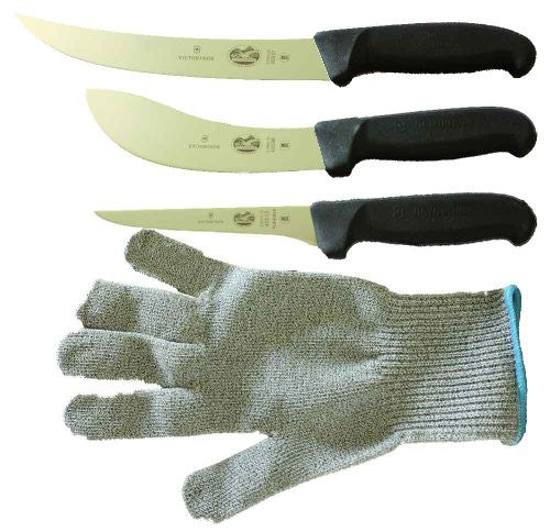Victorinox 5 Inch Boning Knife, 8 Inch Breaking, Knife 6 Inch Skinning Knife & LARGE Polar Bear Cut Resistant Glove