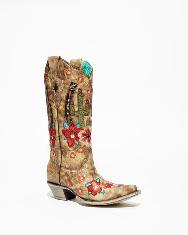 Women's Corral Taupe Cactus Inlay Embroidered Boots #A3736