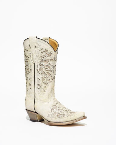 Kid's Corral White Glitter Inlay/Embroidery Boots #T0021