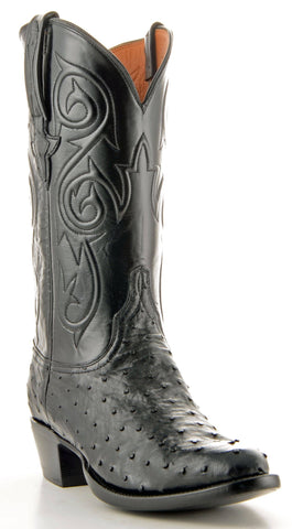 Men's Lucchese Classics Pin Ostrich Boots Black #GC9348-6/3