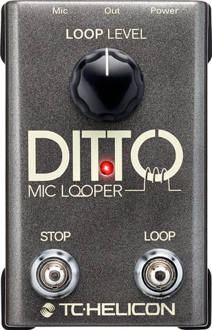 TC Helicon Ditto Mic Looper pedal for vocal & mic'd instruments and TC MP75 Mic & Cable Bundle