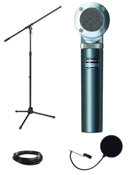 Shure Beta181/C Cardioid Condenser Microphone Bundle with Boom Stand, Mic Case, Pop Filter, XLR Cable, Mic Clip, and Polishing Cloth