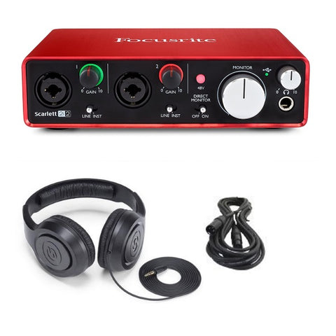 Focusrite Scarlett 2i2 (2ND GEN) 2 In/2 Out USB Recording Audio Interface Bundle with XLR Cable and Studio Headphones