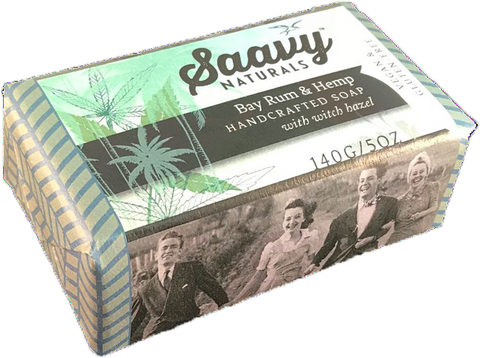 Bay Rum & Hemp Handcrafted Soap with Witch Hazel, 5oz.
