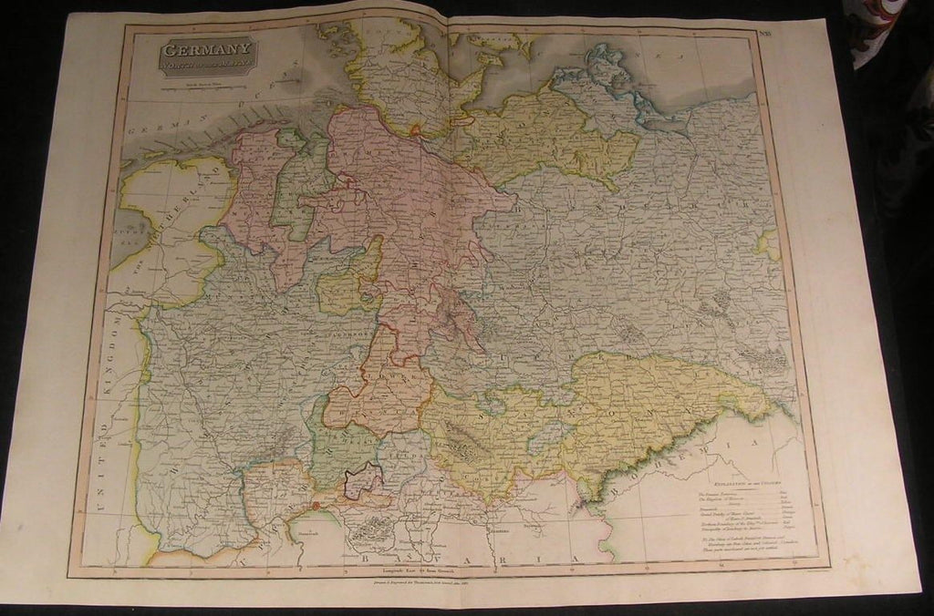 Germany North of Mainz Brandenburg Bremen 1817 antique engraved hand color map