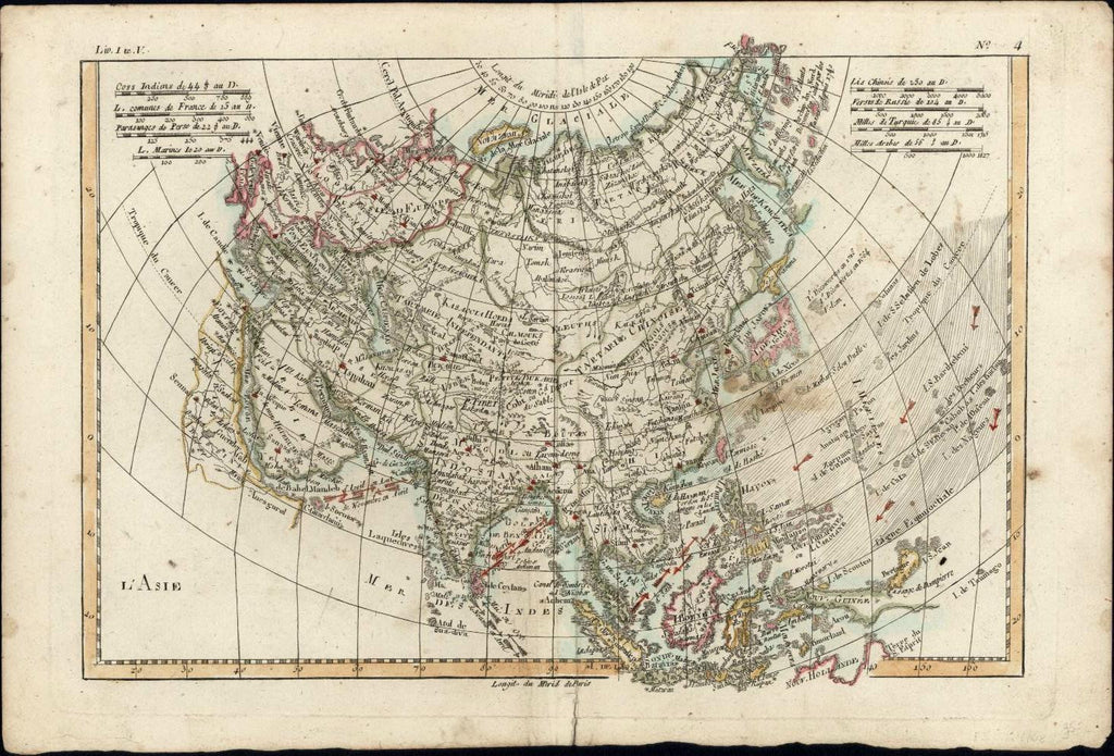 Asia Hindostan India Tibet China Persia Arabia winds c.1780 Bonne antique map