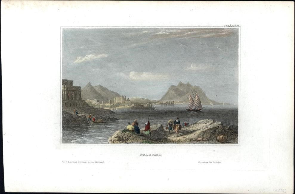 Palermo Italy italia c.1850's fine antique engraved view print hand color coast