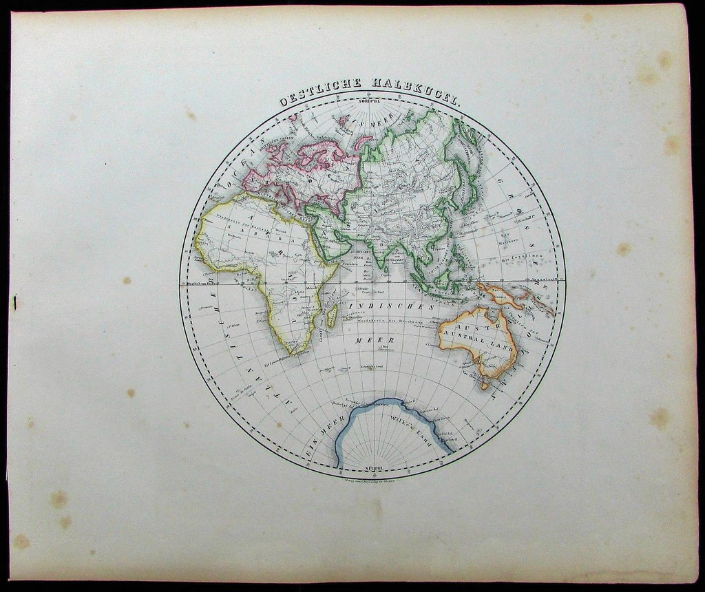 Eastern Hemisphere Asia Europe Africa 1852 Flemming old antique World map