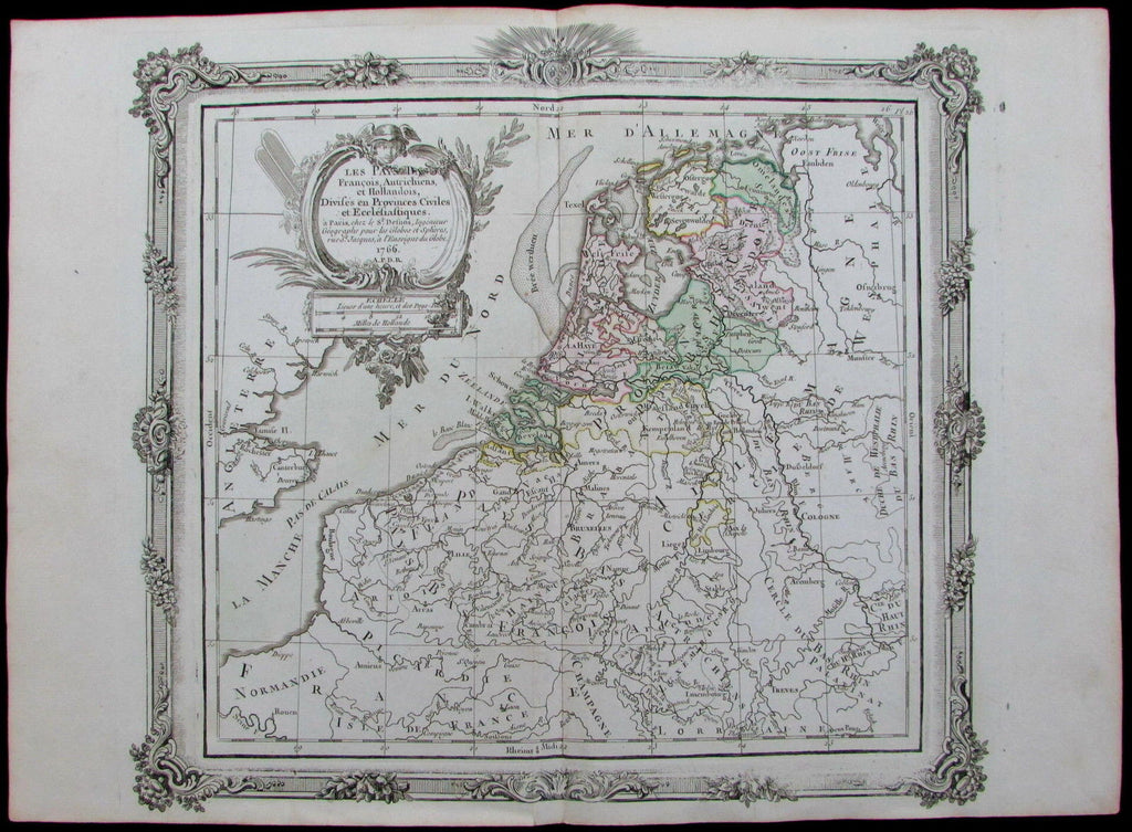Pays Bas France Netherlands Holland Belgium Luxembourg 1766 Brion old color map