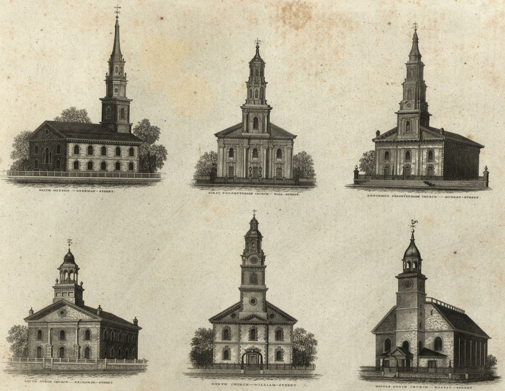 Dutch Churches Presbyterian 1830 New York city Public Buildings print WD Smith