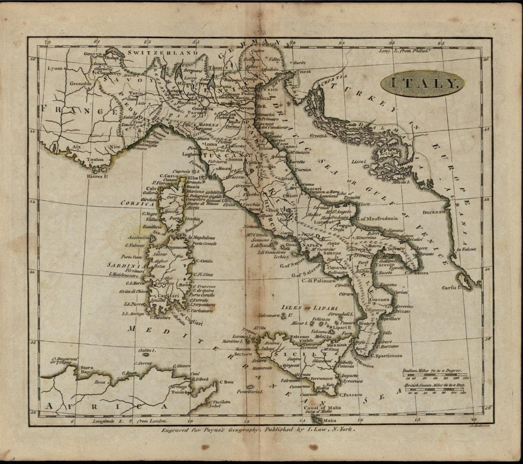 Italy Italia rare ca. 1799 antique American produced map engraved by A. Anderson