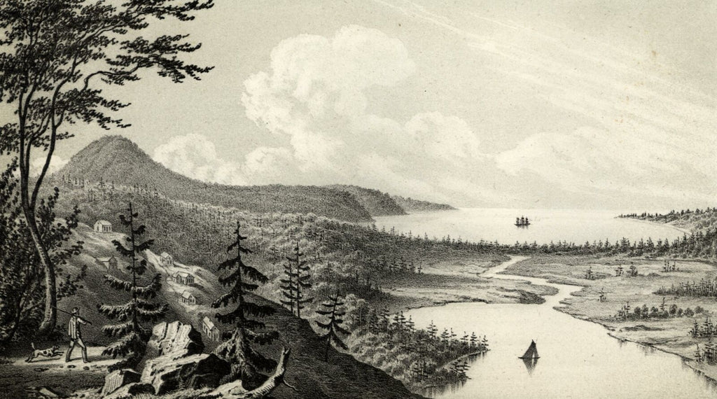 Mt Houghton Lac la Belle Great Lakes 1851 Lake Superior lithographed view print
