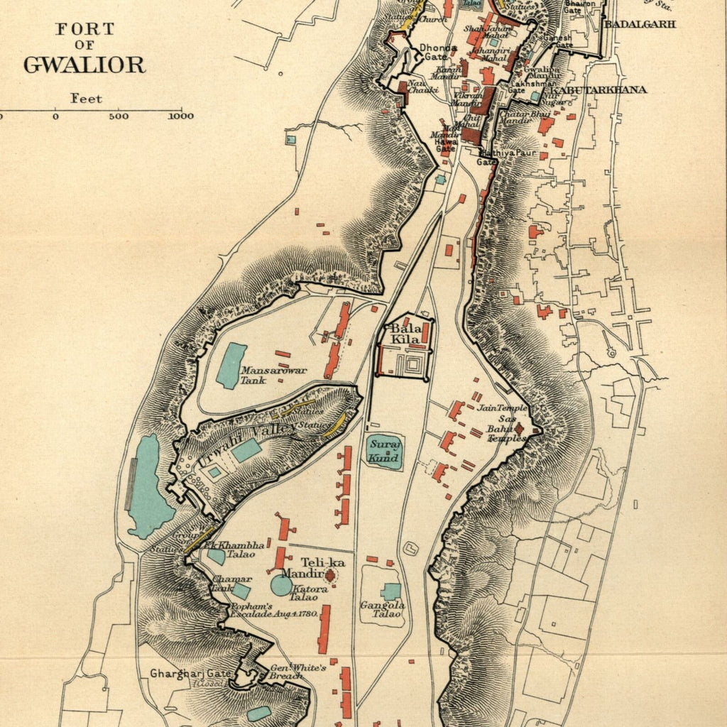 India Fort of Gwalior Lashkar 1909 detailed old color litho map