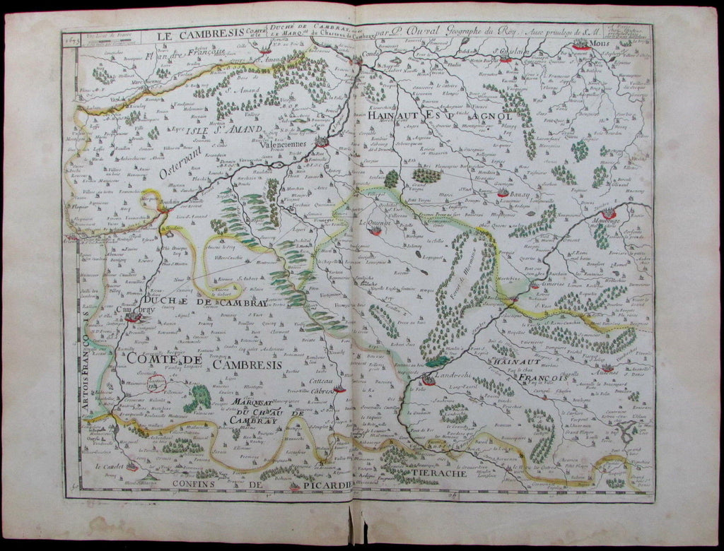 Cambre Galicia Northern Spain c.1677 du Val rare large antique color map
