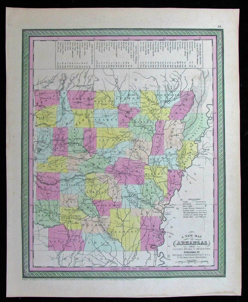 Arkansas roads canals distances Little Rock 1850 Cowperthwait fine antique map