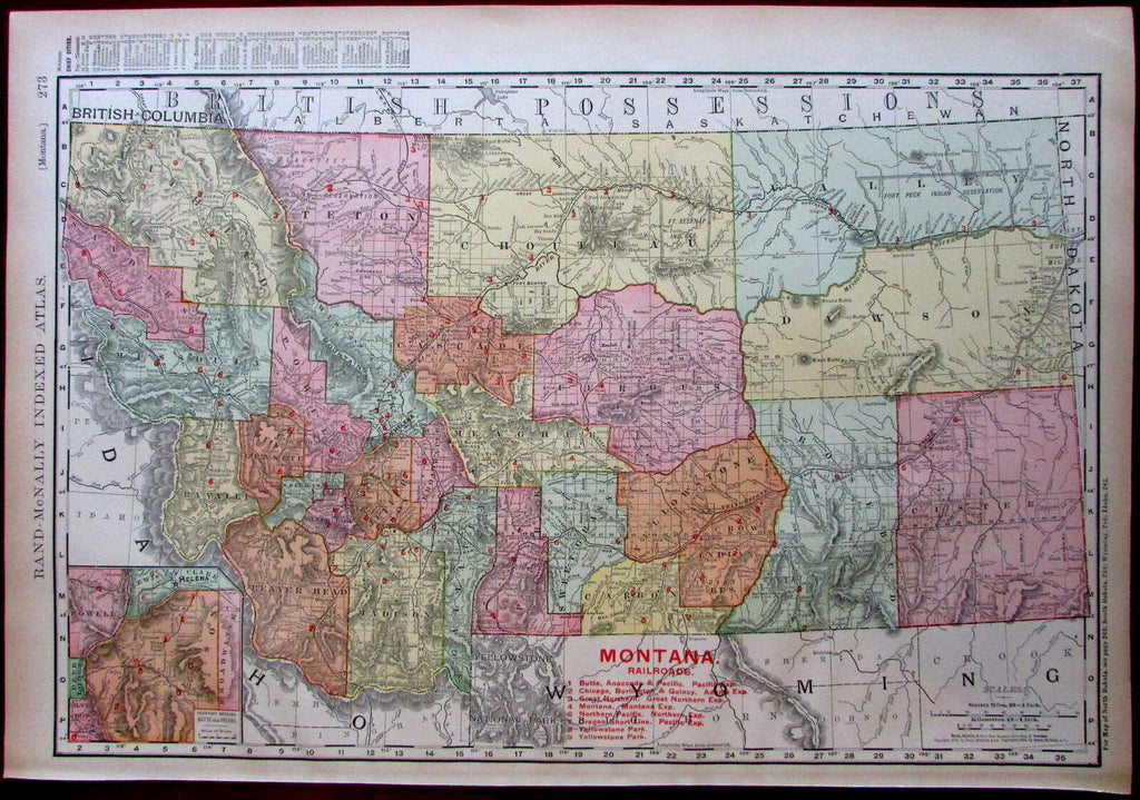 Montana Railroads 1908 huge detailed Rand McNally state by itself map