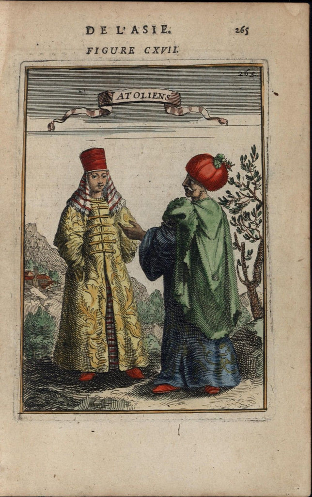 Turks Turkish man woman traditional dress 1683 Mallet old antique print