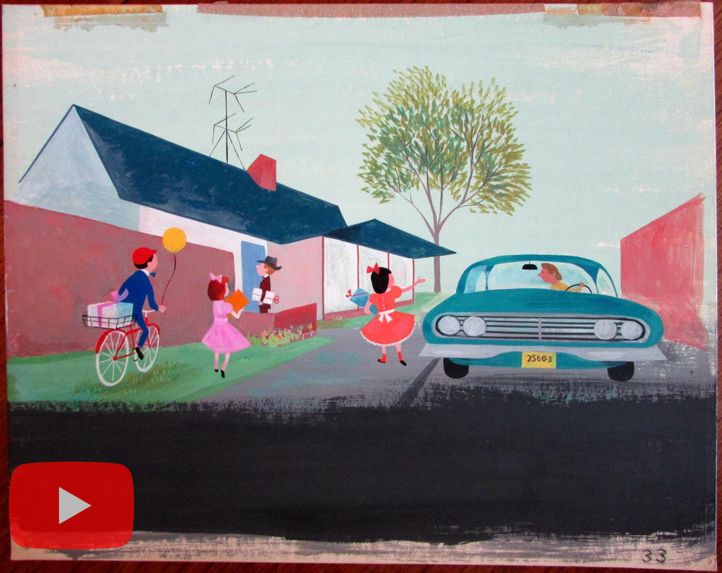 Children's art car bicycle party presents c.1961-3 gouache original Painting A+