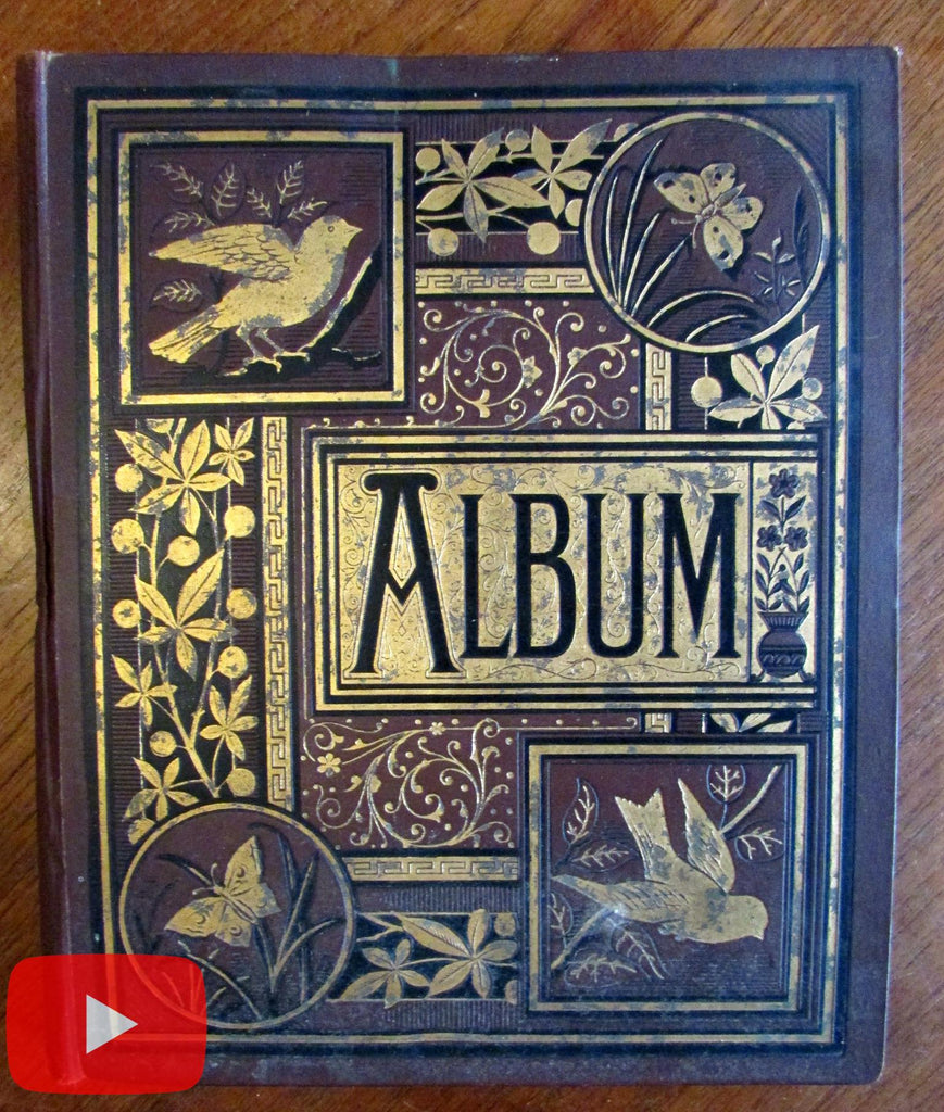 Scrapbook of c.250 Trade Cards c. 1880's nice decorative Album Thread colorful