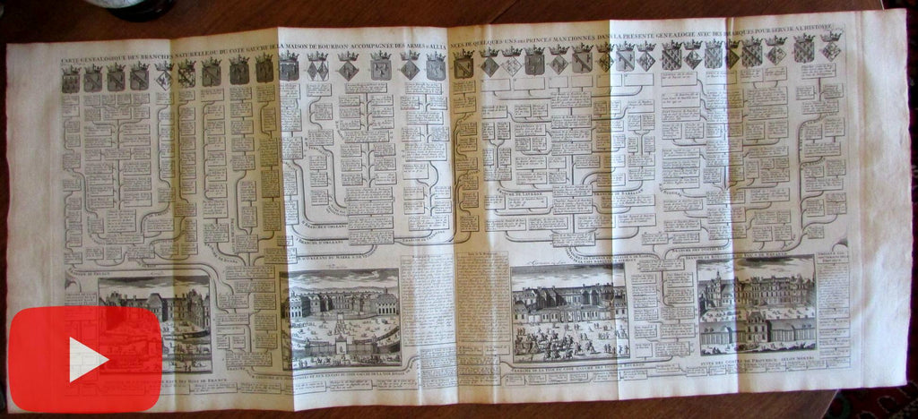 Paris France Chatelain 1720 Versailles Mendon St. Germaine views genealogy print