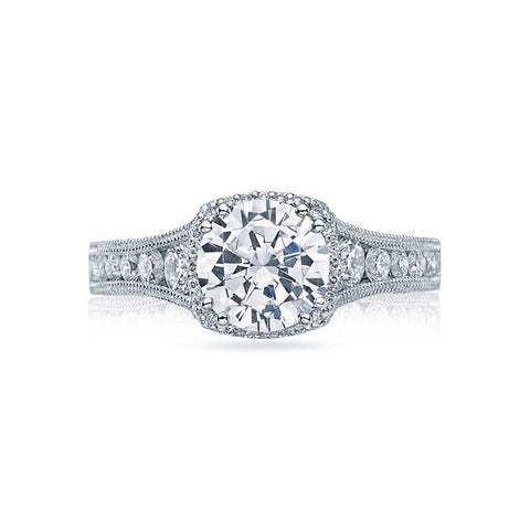 Tacori Reverse Crescent Collection Halo Engagement Ring Semi Mount 18K White Gold with Diamonds