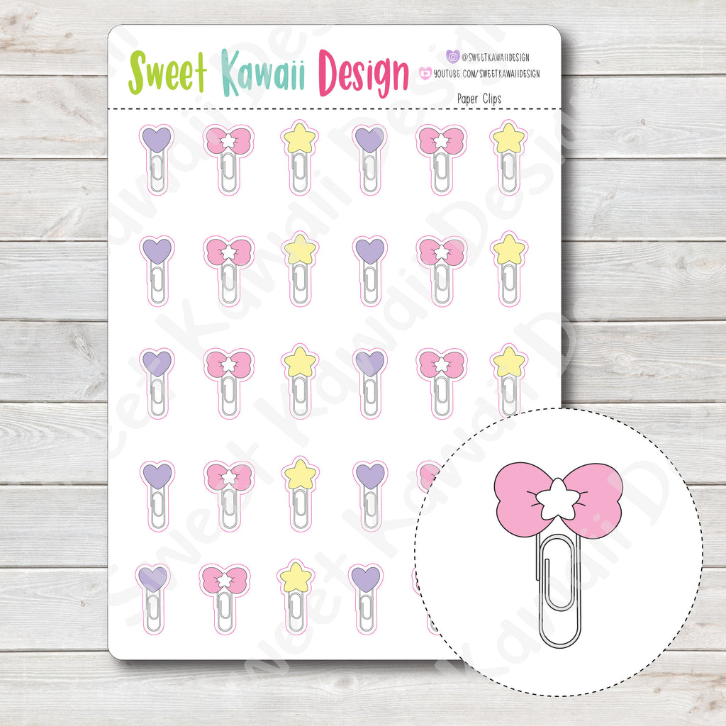Kawaii Paper Clip Stickers