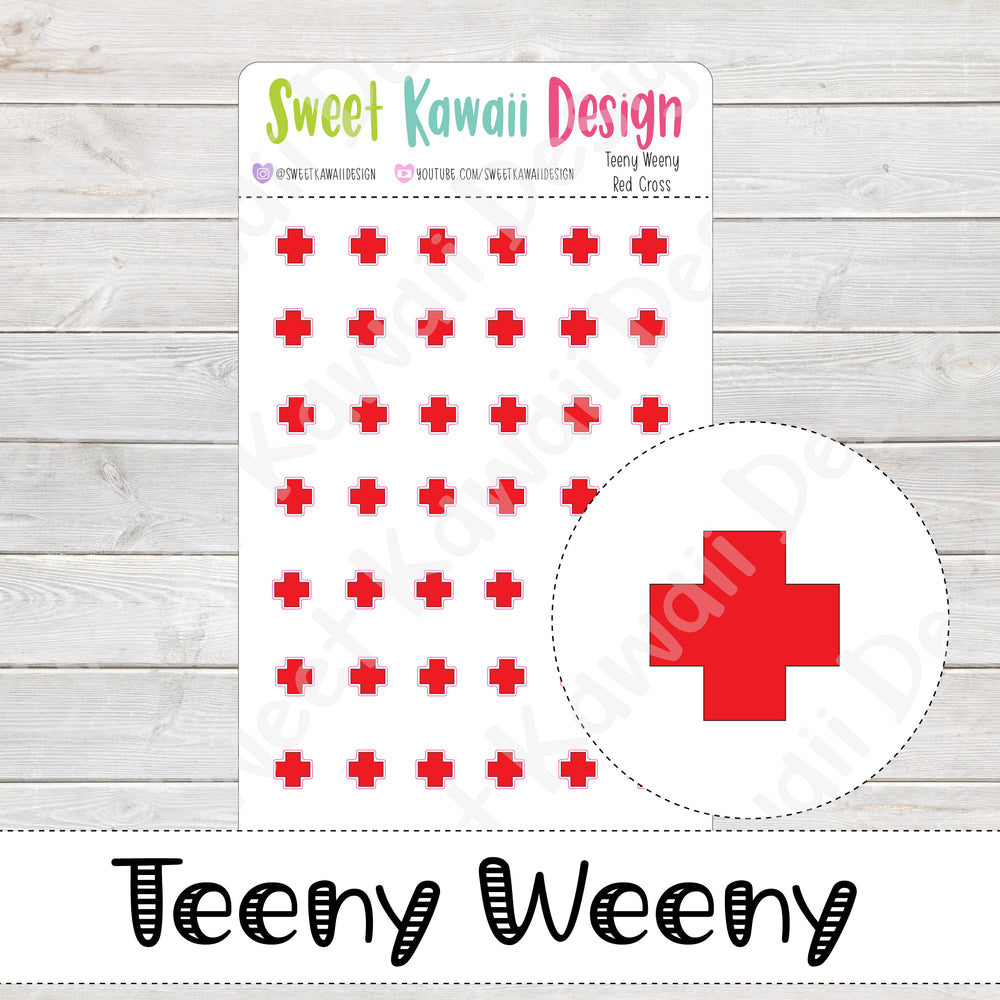 Teeny Weeny Red Cross  Stickers