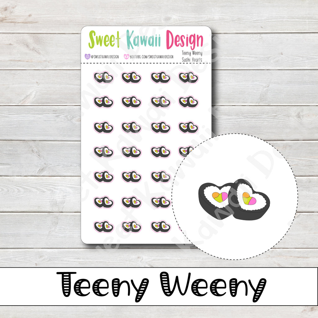 Teeny Weeny Sushi Hearts Stickers