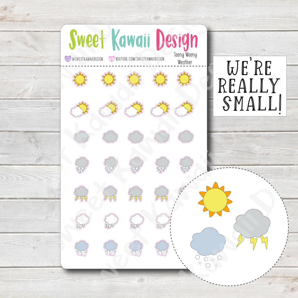 Teeny Weeny Kawaii Weather Stickers - Options Available