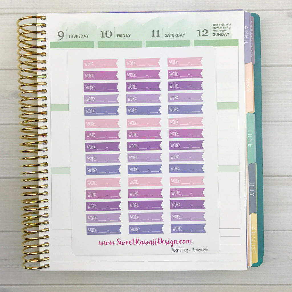 Kawaii Work Schedule Flag Stickers - Periwinkle