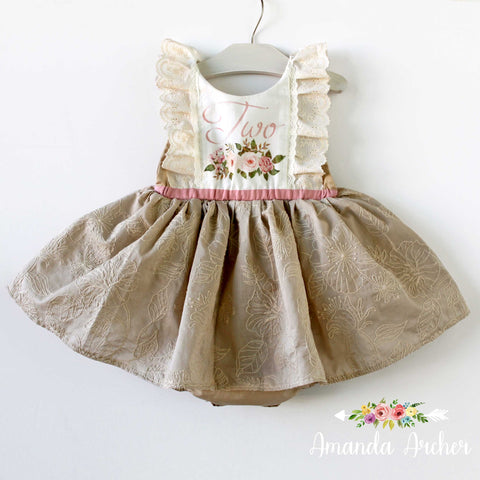 2nd Birthday Dress Romper, Natural Wonders