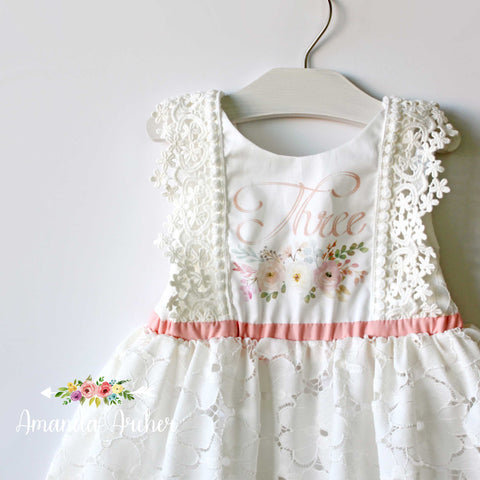 3rd Birthday Dress, Lace Bloom and Grow 3T MTO