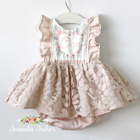 Pale Blush First Birthday Lace Dress Romper RTS