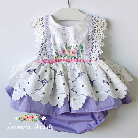 Lavender Floral First Birthday Romper Dress RTS