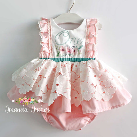 Fairy Floral First Birthday Romper Dress RTS