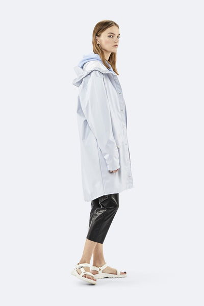 Rains metallic ice grey jacket long