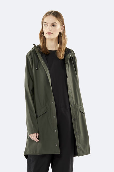 Rains green jacket long