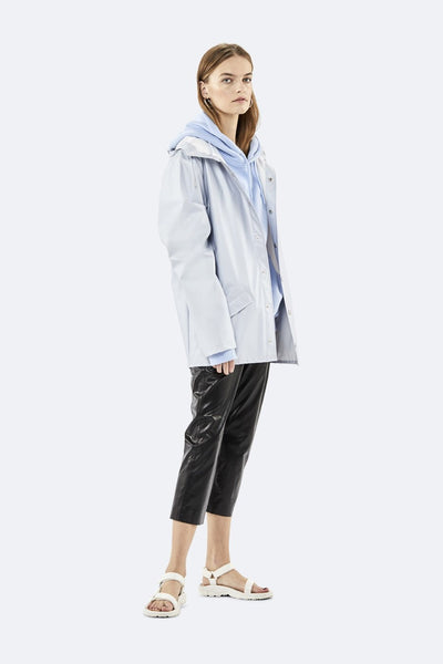 Rains metallic ice grey jacket
