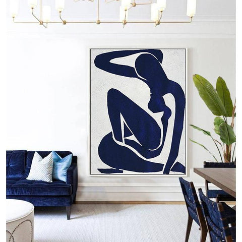 Navy Blue Nude Art #NV270B-Minimal Art-CZ Art Design(Celine Ziang Art)
