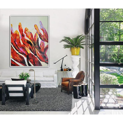 Square Abstract Flower Painting #X35A-Abstract Art-CZ Art Design(Celine Ziang Art)